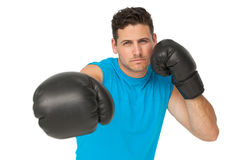 Determined male boxer focused on his training Stock Images