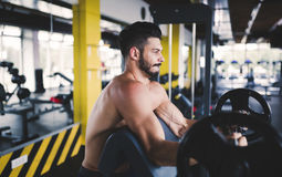 Determined male working out in gym Stock Photography