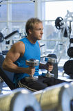 Determined Man Lifting Weights In Gym Stock Images