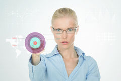Determined nordic girl showing her goals Royalty Free Stock Photo
