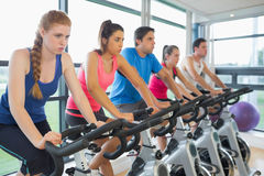 Determined people working out at spinning class Royalty Free Stock Photo