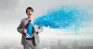 Determined super businessman Royalty Free Stock Images