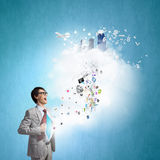 Determined super businessman Royalty Free Stock Photography