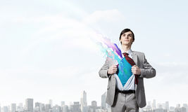 Determined super businessman Royalty Free Stock Photos