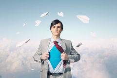 Determined super businessman royalty free stock image