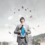 Determined super businessman Stock Images