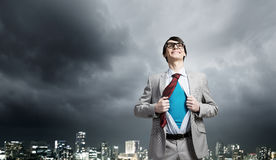 Determined super businessman Royalty Free Stock Photo