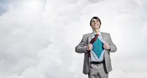 Determined super businessman Stock Photos