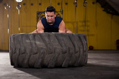 Determined to lift up a tire Stock Images