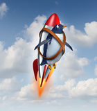 Determined To Succeed. And overcome limitations concept as a realistic penguin flying in the air using a rocket as a business symbol of achievement potential stock illustration