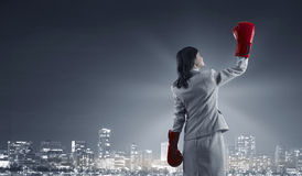 She is determined to win . Mixed media Royalty Free Stock Photography