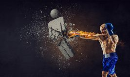 He is determined to win. Mixed media royalty free stock image