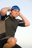 Determined triathlete. Royalty Free Stock Photography
