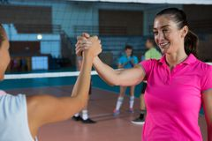 Determined volleyball players holding hands Stock Image