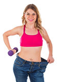 Determined woman doing fitness exercise on isolated background Royalty Free Stock Photos