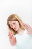 Determined woman signalling That Is Enough Royalty Free Stock Images
