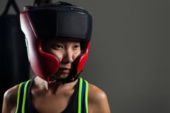 Determined woman wearing headgear during boxing Stock Images