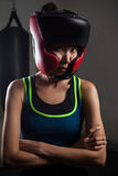 Determined woman wearing headgear during boxing Royalty Free Stock Image