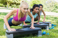 Determined women doing step aerobics Stock Images