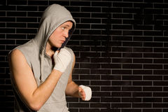 Determined young boxer in a Stock Photos