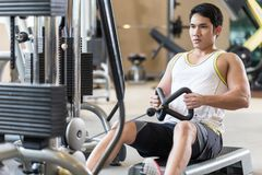 Determined young man looking forward while rowing at the cable machine stock image