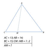 Determining the length of the segment in the triangle Stock Images
