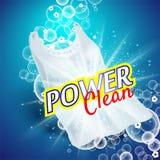 Detersivo di lavanderia con la fine su che pulisce la sporcizia in abbigliamento, fondo blu-chiaro royalty illustrazione gratis