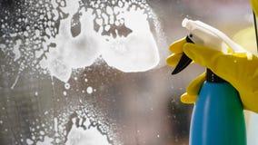 Detersivo di spruzzatura di pulizia di finestra della persona fotografia stock libera da diritti