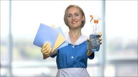 Detersivo e straccio sorridenti di rappresentazione della donna per pulire archivi video