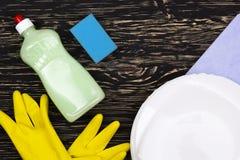 Detersivo, spugna, piatti, straccio e guanti del lattice Fotografie Stock Libere da Diritti