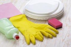 Detersivo, spugna, piatti, straccio e guanti del lattice Fotografia Stock