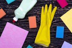 Detersivo, spugne, stracci e guanti del lattice Immagini Stock Libere da Diritti
