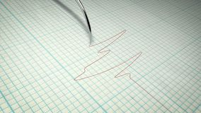 Detertor of Lie With a Graph. A breathtaking 3d rendering of a lie detector with a metallic stylus writing a red curvy line on a paper with boxes. The lines have Stock Photo