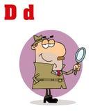 Detetive com letras D ilustração royalty free