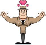 Detetive Hug dos desenhos animados ilustração stock