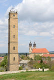 Dethöga stänga-tornet 40 i Tata Hungary Arkivfoto