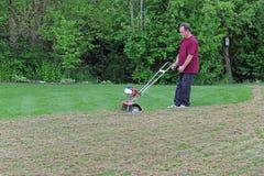 dethatching gräslawn för omsorg Royaltyfria Foton