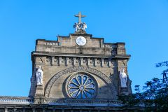 Detiails of Manila Cathedral facade at the Intramuros area royalty free stock photography