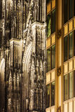 Detial of the Cologne Cathedral against new building Stock Images