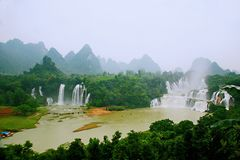 Detian Falls. Detian Waterfall is located in Xinxian County Shuo Long Zhen de Tian Cun China Chongzuo City, the Guangxi Zhuang Autonomous Region, and Vietnam Royalty Free Stock Image