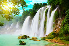 Detian waterfall. Detian or Ban Gioc waterfall along Vietnamese and Chinese board