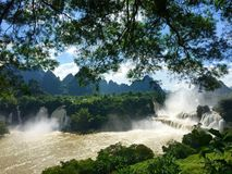 Detian waterfall. As the river drops from the plateau, it forms great waterfalls Stock Photos