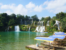 Detian waterfall on border stock images