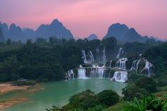 Detian Waterfall. At sunset in Guangxi, China Royalty Free Stock Image