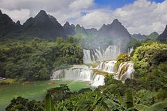 Detian Waterfalls in China, also known as Ban Gioc in Vietnam. Is the fourth largest transnational waterfalls in the world. Located in Karst hills of Daxin Stock Photos