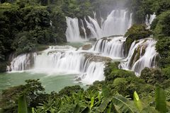 Detian Waterfalls in China, also known as Ban Gioc in Vietnam. Is the fourth largest transnational waterfalls in the world. Located in Karst hills of Daxin Royalty Free Stock Photo
