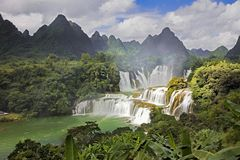 Detian Waterfalls in China, also known as Ban Gioc in Vietnam. Is the fourth largest transnational waterfalls in the world. Located in Karst hills of Daxin Stock Photography