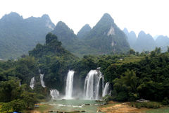 Detian waterfalls in Guangxi, China. The waterfall between China and Vietnam Stock Image