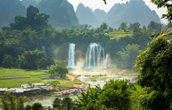 Detian waterfalls in Guangxi province China Royalty Free Stock Photos