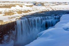 Detifosswaterval bij schemering in IJsland stock foto